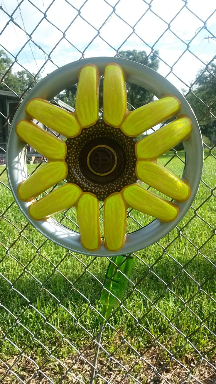 93 best images about hub cap flowers on pinterest