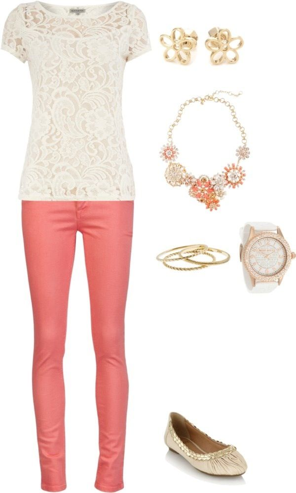 like all. love the feminine lace top and pop of color of bottoms
