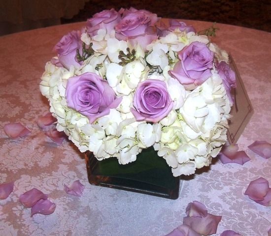 hydrangea and roses wedding centerpieces | Centerpiece purple rose ...