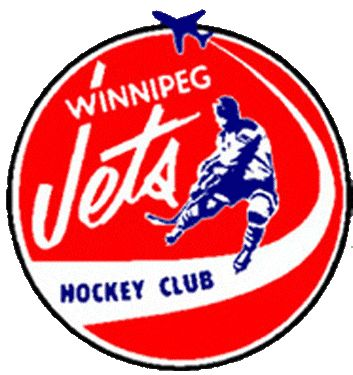 Winnipeg Jets Primary Logo (1973) -  Red circle with Winnipeg Jets written in white and hockey player with a j
