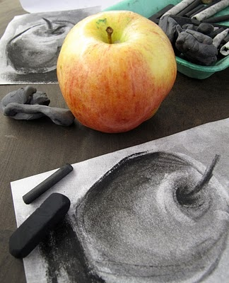 charcoal still life drawing of an apple- grade 8