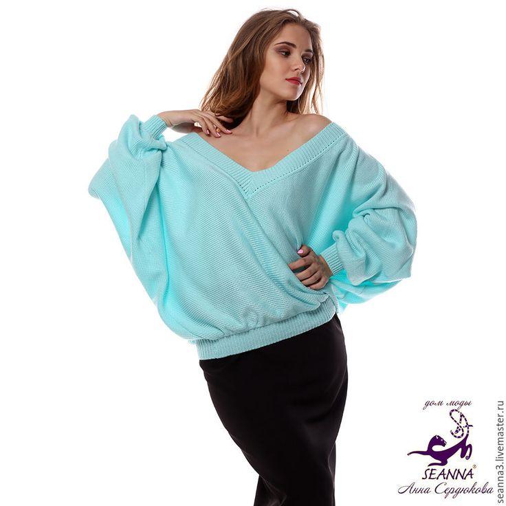 """Купить Джемпер """"Летучая мышь цвета Льдинки"""" в любом размере и цвета - шелковый свитер"""