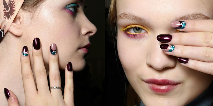 Smalto metallizzato e unghie decorate da abbinare al trucco occhi super colorato. L'idea cool da copiare dalla sfilata di I'M Isola Marras