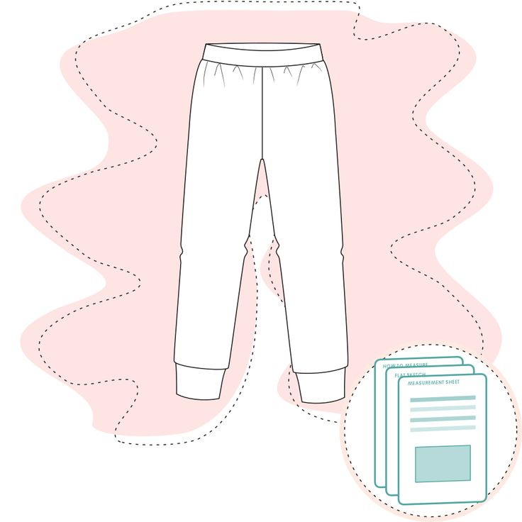 Tech Pack Template -  Pyjama pants Size range 2 to 12y Recommended fabric: Jersey 95-98% Cotton 2-5% Elastane Basic pyjama pants Snug fit Girls LS Tee matches perfectly for making a Girls pyjama set Ready-to-use d…