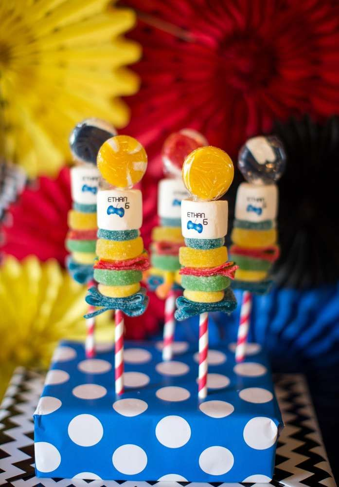 Sonic the Hedgehog birthday party candy! See more party planning ideas at CatchMyParty.com!