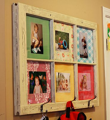 Our distressed window/picture frame with hooks, complete with instructions!