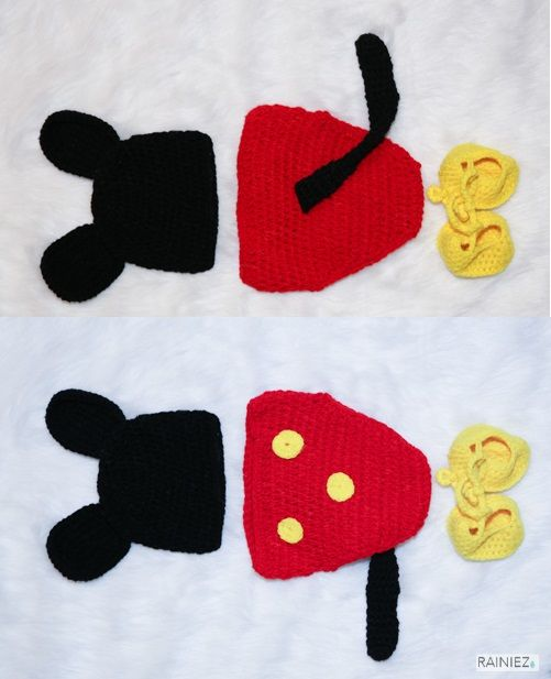 Cute Hand-Made Crochet Mickey Mouse - Perfect as a baby photography prop - Made with soft yarn - Great for new moms and perfect for a baby shower gift! www.rainiez.etsy.com