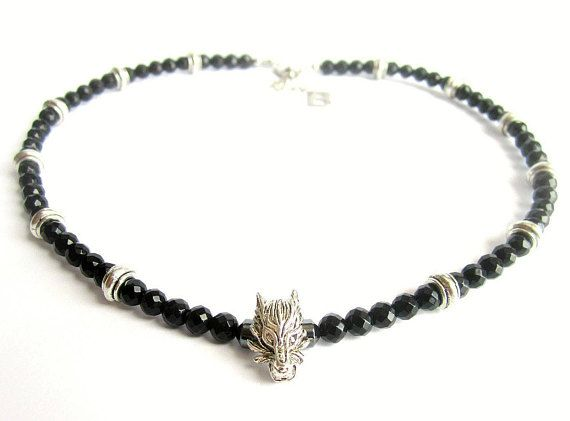 Mens wolf necklace mens black onyx beaded necklace black
