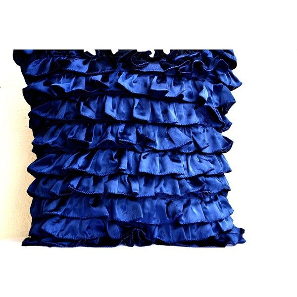 Navy Blue Pillow Covers- Couch Pillow Covers- Ruffle Textured Sateen... (2,595 INR) via Polyvore featuring home, home decor, throw pillows, ruffle throw pillow, navy accent pillows, navy blue home decor, navy home decor and dark blue throw pillows