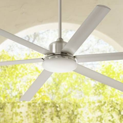 "72"" Casa Arcade Brushed Nickel Damp LED Ceiling Fan - #8M976-8M995 