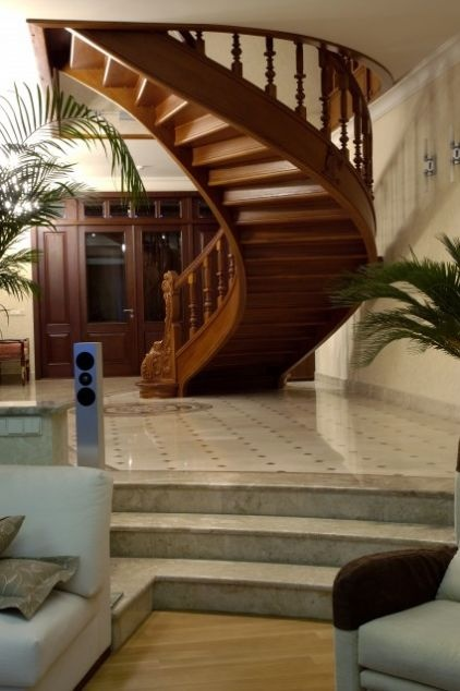 The open ridges on the rear side of this stairwell lend wonderful movement and texture to the space and prevent the stairs from looking too hefty.: Traditional Staircase, Idea, Zimina Inna, Stairs, Staircases, Dream House, Staircase Design, Beautiful Staircase