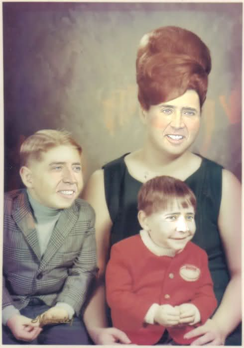 Nicholas Cage Family Portrait. Crying with laughter!