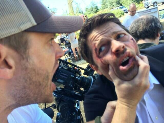"Misha's twitter: ""I really don't like the way this director gives performance notes.""  Filming season 10 is intense ;)"