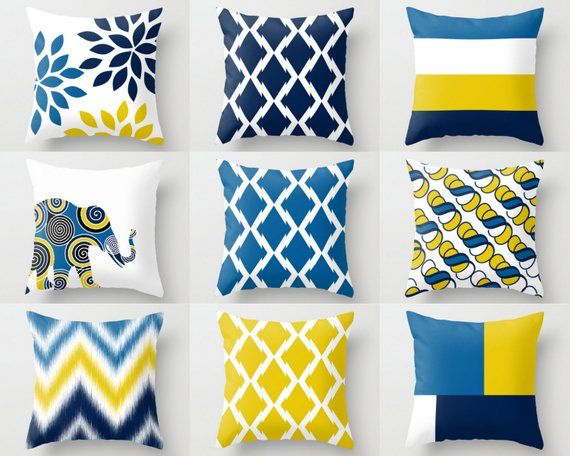 Throw Pillow Covers Navy Yellow White Cobalt Pillow Typography Art