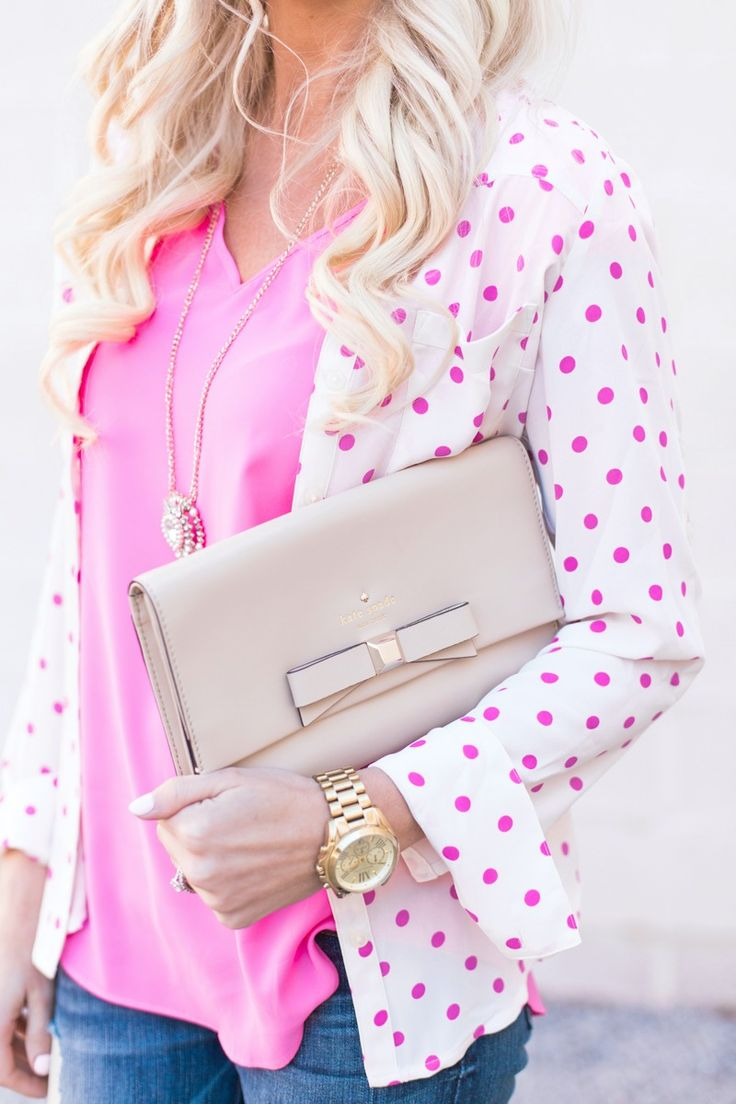 Pink + Pink Polka Dots. Polka dots are one of my favorite prints! They are so fun and happy, especially for spring!