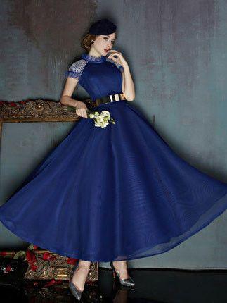 Dark Blue Short Sleeves Modest Ankle Length Evening Prom Formal Dress   X037