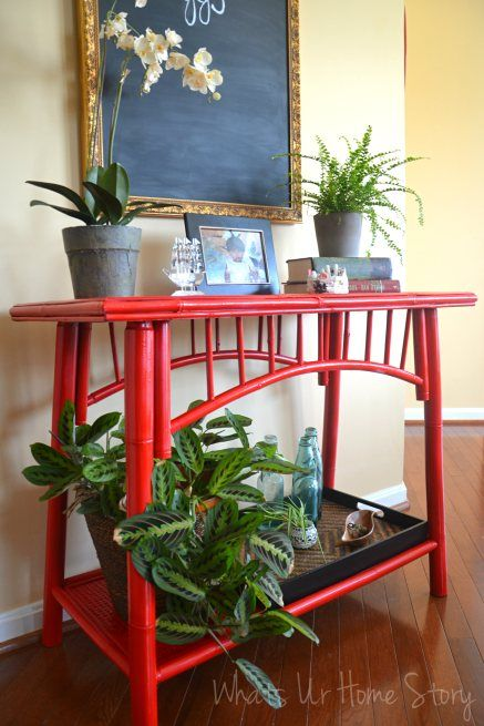 Painting Bamboo Furniture, red bamboo table, painting bamboo furniture, spray paint furniture, Rustoleum Apple Red Paint