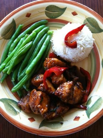Healthy Sesame Chicken. Made this tonight and it was delicious. Very little oil, much healthier than take out! I served it over brown rice with a side of roasted green beans and shallots.
