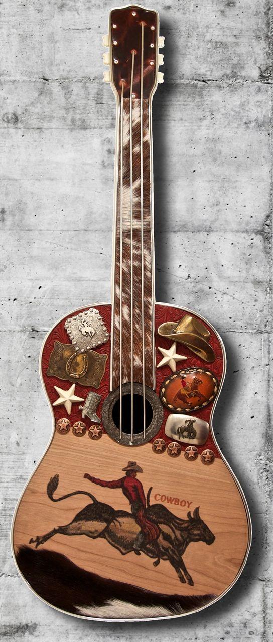 """Carol Braden """"Ride 'em Cowboy"""" Western Guitar Sculpture  www.maverickstyle.net"""