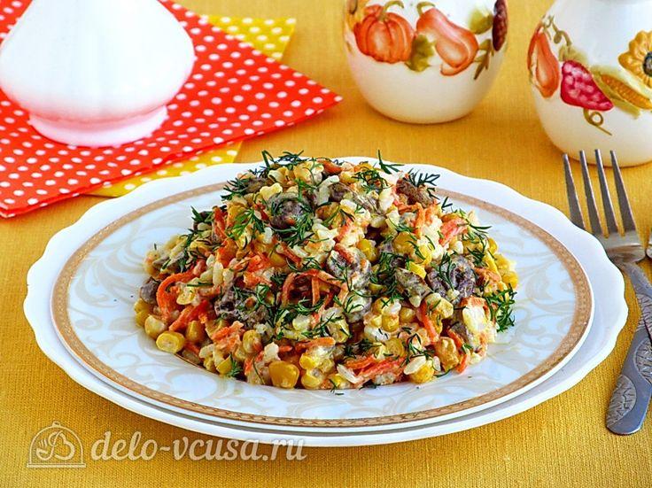 Сытный салат с куриными сердечками и корейской морковью #салаты #курица #овощи #рецепты #деловкуса #готовимсделовкуса