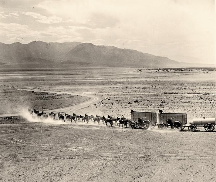 Death ValleyIn the 1870s, 20-mule team wagons began hauling borax across the Great Basin Desert to the nearest railroad.– True West Archives –