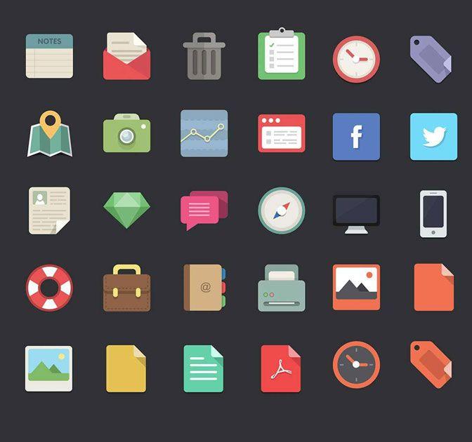 Free download: 48 Flat Designer Icons - MightyDeals