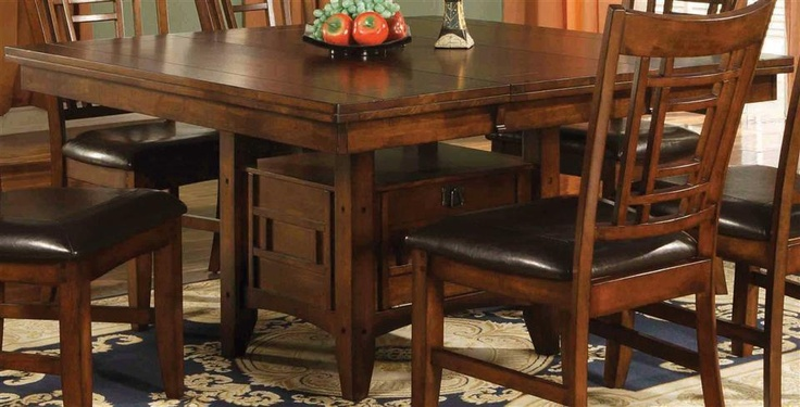 Eureka Square Dining Table W Leaf Amp Storage Pedestal Base