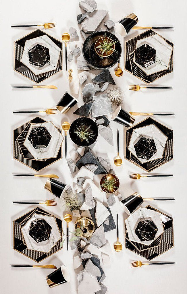 "Delicate gold trimming on elegant hexagon, nothing conveys taste more than our chic marble plates. Grey, White, Black, Gold Foil  Paper Approx. 8"" Corner to Cor"