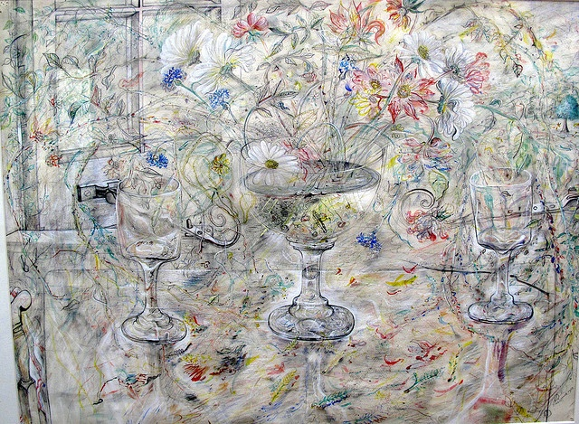 Flora in Calix Light (Pencil and watercolour, 1950) by David Jones  The three crystal glasses reference the crosses on Calvary. Flowers, evoking remembrance. Calyx is the flower's cup (and Eucharistic chalice) where spring and life comes from. The tenuous lines and brushstrokes suggest, rather than delineate, the insubstantial forms before us; insubstantial because they comprise numerous, mutable particles that are comprehended by light. Held by..Kettle's Yard.