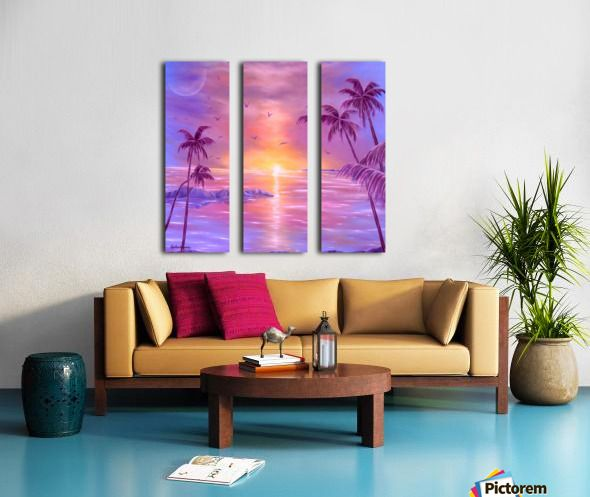 Spring, seascape, sunset, purple, lavender, mauve, fine art, oil painting, decor items, triptych, 3 split, stretched, canvas, multi panel, prints, for sale