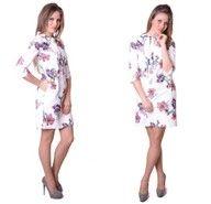 Sukienka Trapez Kokarda Biała Kwiaty PRODUCENT 38