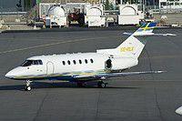 Grafair Raytheon Hawker 800XP SE-RLX aircraft, skating at Sweden Stockholm Bromma Airport. 22/05/2016.