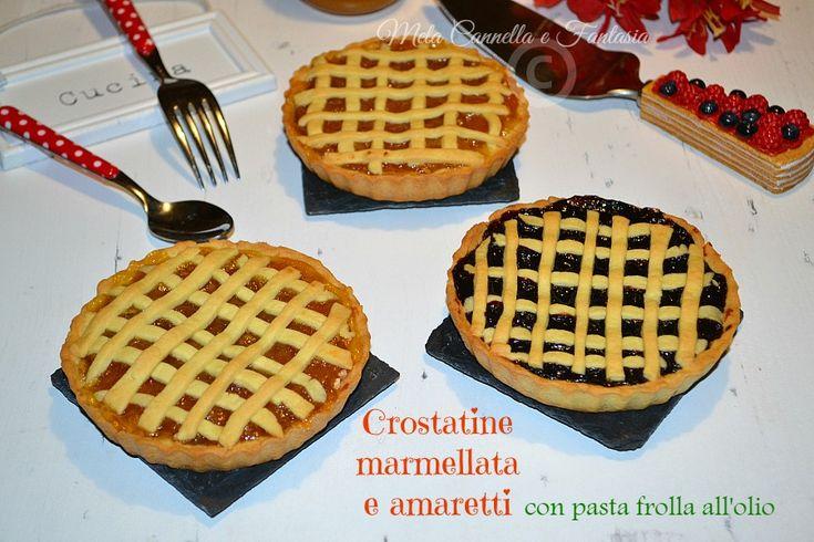Crostatine marmellata e amaretti con frolla senza burro