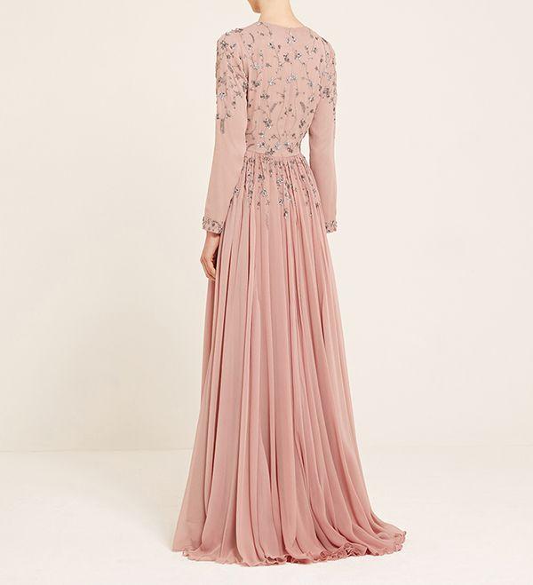 Dusty Pink And Silver Embellished Dress - £360.00 : Inayah, Islamic Clothing & Fashion, Abayas, Jilbabs, Hijabs, Jalabiyas & Hijab Pins