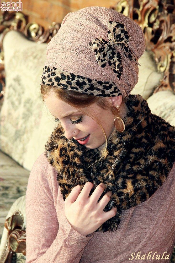 Love it. Winter Hijab with faux fur collar/ scarf / Leopard Antique Pink Sinar Tichel
