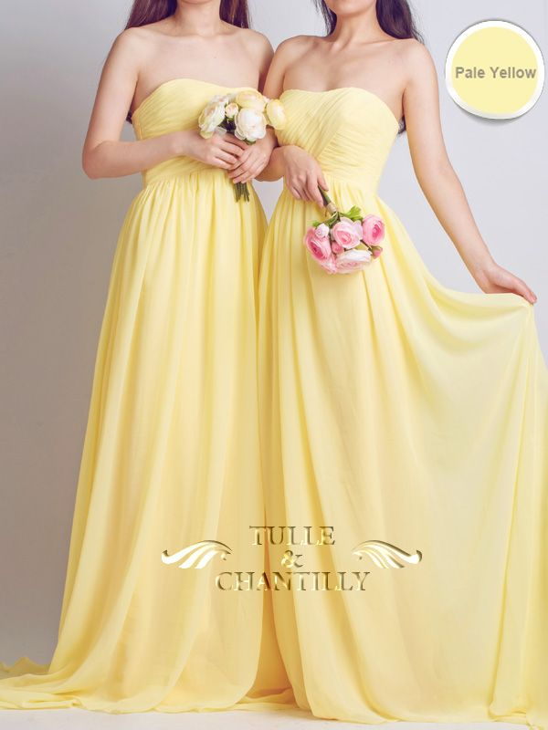 Spring wedding ideas - Strapless Sweetheart Long Chiffon Pale Yellow Bridesmaid Dresses