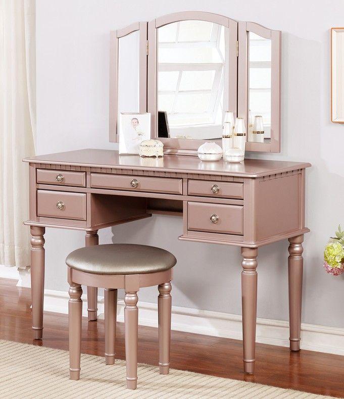 Poundex F4060 3 Pc Diana Rose Gold Finish Wood Make Up Bedroom