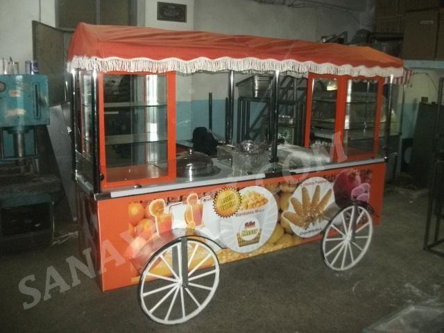 bardakta mısır + Çubukta patates + sıkma portakal + popcorn (mısır patlatma) seyyar arabası » Kombine Arabalar - Sanayi tipi