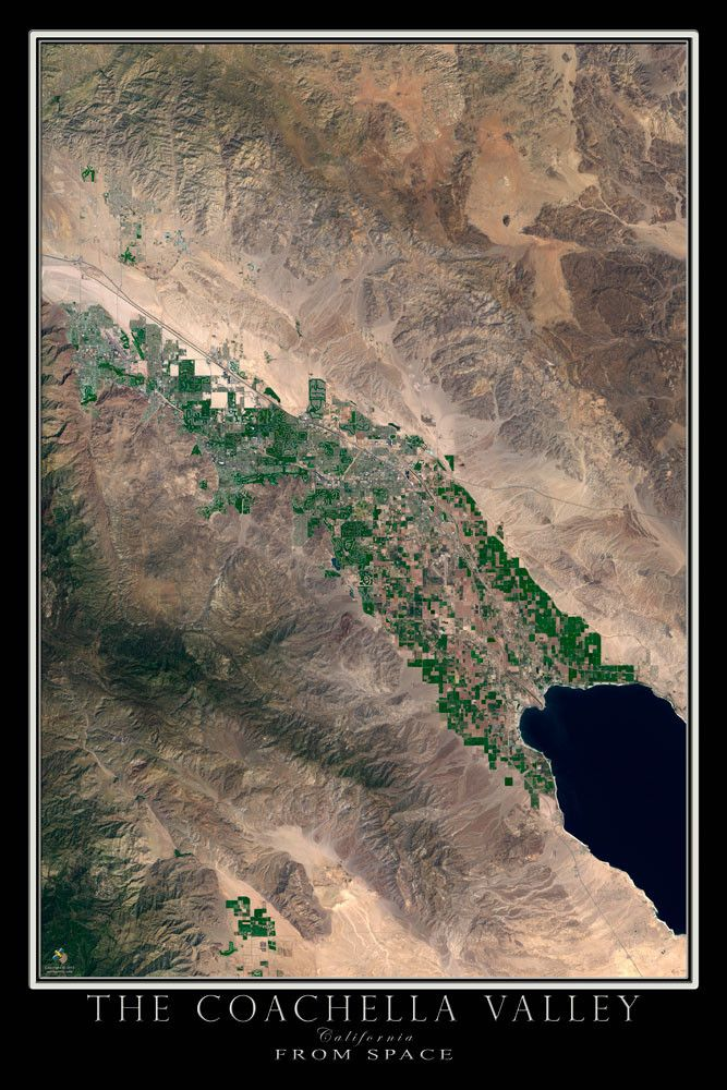 Coachella Valley California Satellite Poster Map 44
