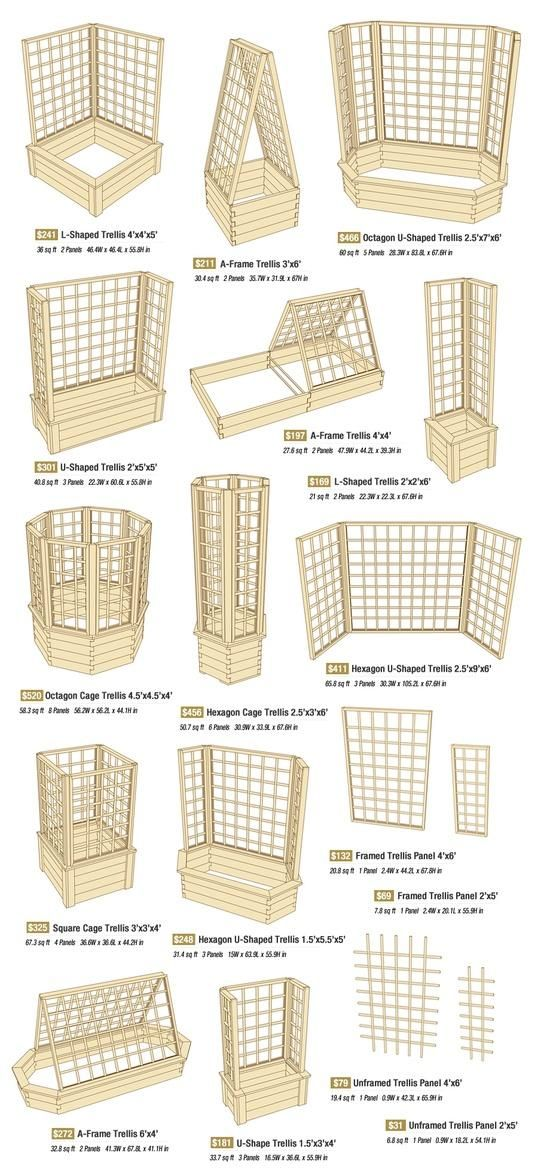 "Small garden space? Go up! I need to use trellising to make the most of our garden space. This ""trellis idea"" chart ought to come in handy."