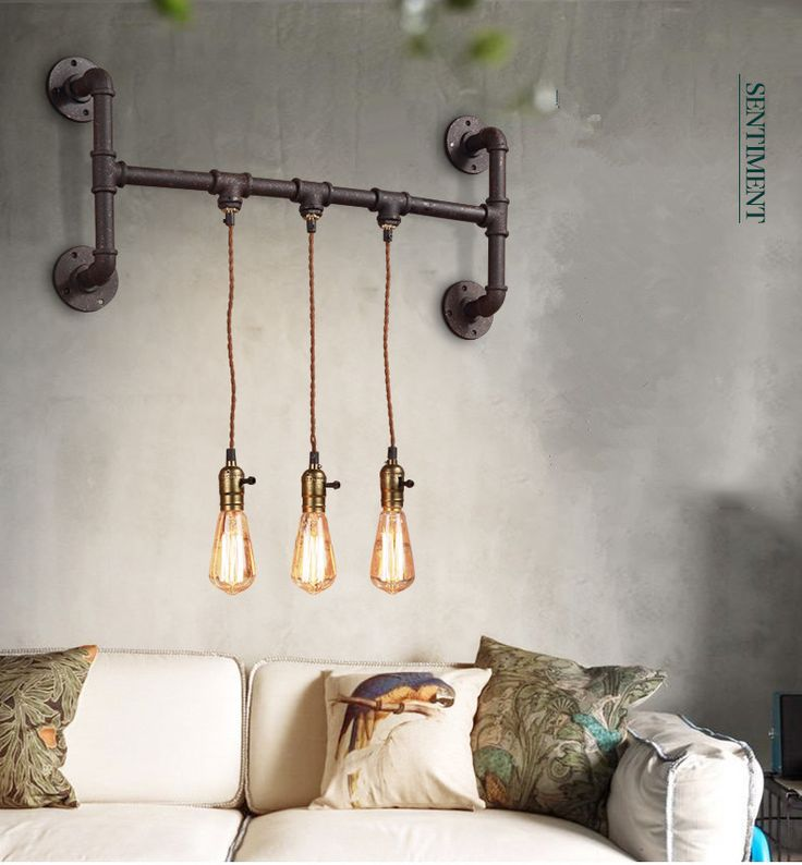 2015 Unique Design Europe Ikea Art Deco Waterpipe 3 Light Bar Wall Lamp American Pastoral Loft Wall Lamp With Edison Bulbs -in Wall Lamps from Lights & Lighting on Aliexpress.com | Alibaba Group