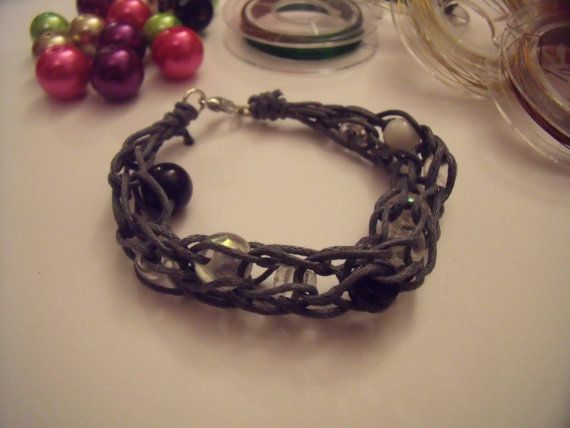 Chunky cotton cord bracelet with black, white and silver beads