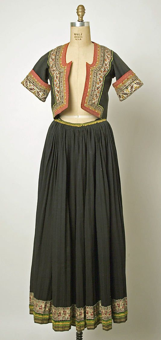Wedding ensemble Date: 19th century Culture: French (Breton peoples) Medium: (a, b) wool (c, d, e, l) cotton (f, g) silk (o, p) leather