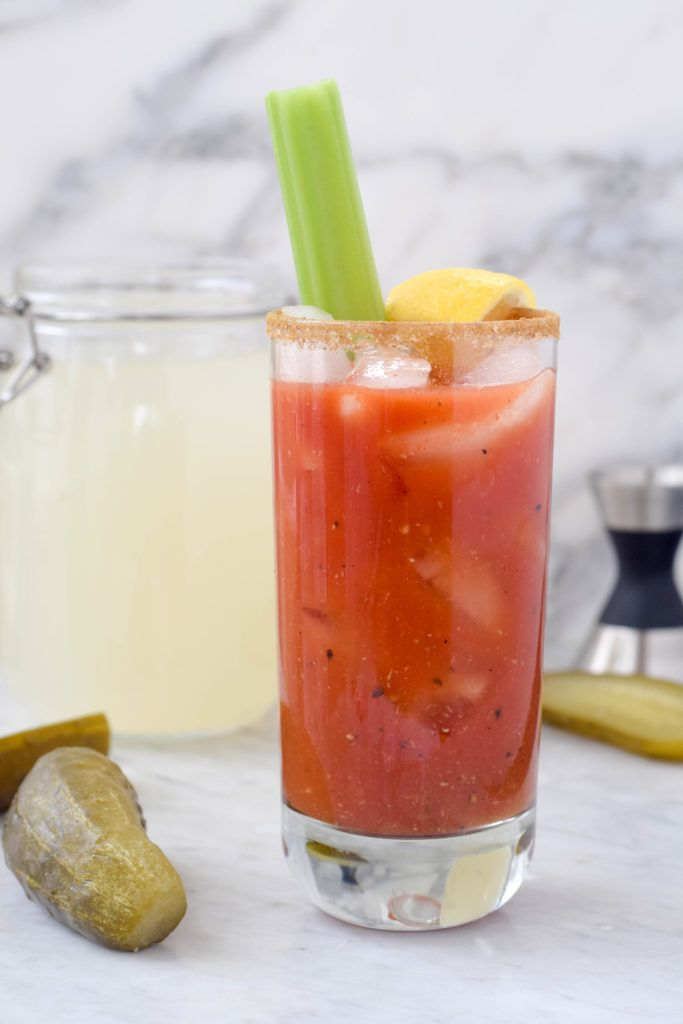 Perfect for brunch parties! A homemade Bloody Mary made with pickle-infused vodka. Easy and fun DIY project.