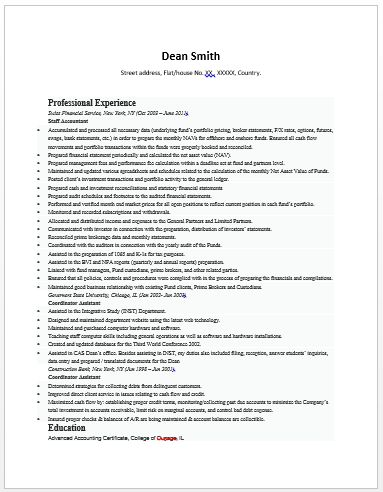 Best Resume Format For Accountant Sample Latest Chartered Accountant