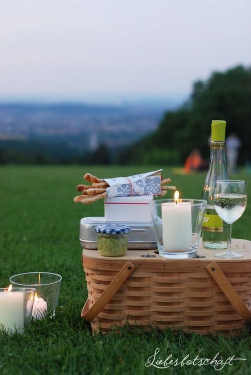 Looking for a more romantic picnic? Wine glasses will easily fit in Longaberger's picnic baskets.