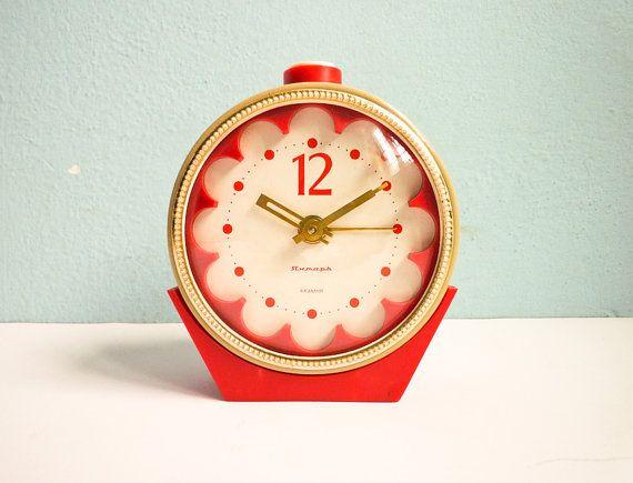 Vintage Big Mechanical Alarm Clock Red