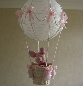 Piglet In Hot Air Balloon Light Lamp Shade For Baby Girl