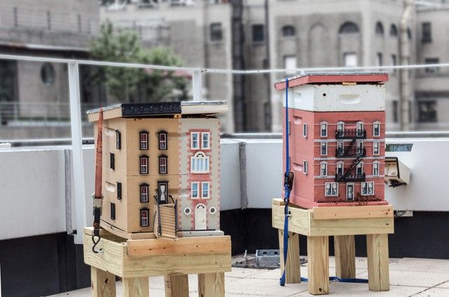 Two beehives modeled like city buildings are kept on a for Modern hive