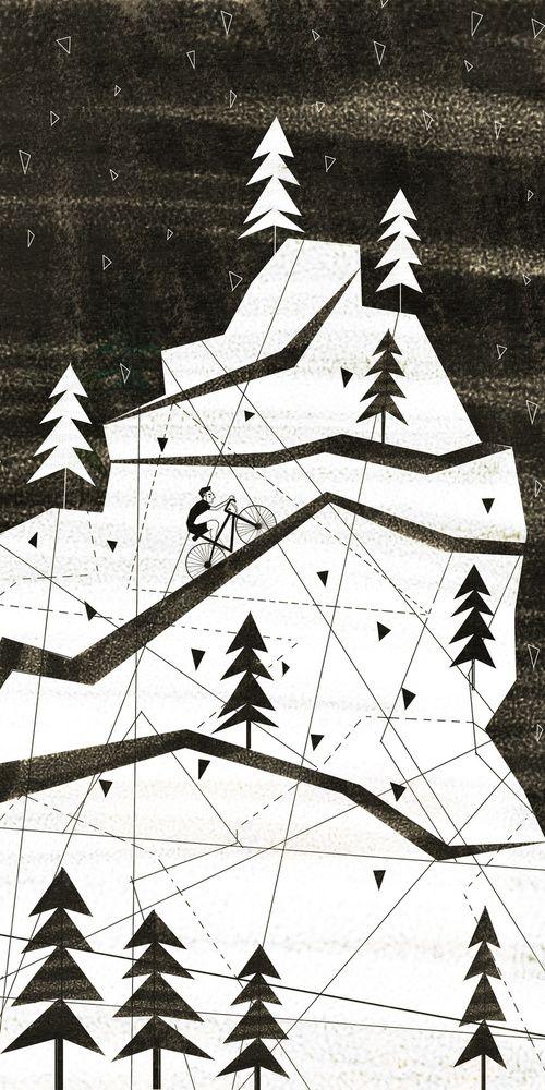 Black & white mountain with biker illustration by Josie Portillo